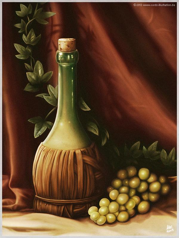 Stillleben: Weinflasche