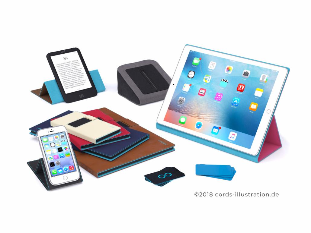 3D Produktvisualisierung von verschiedenen Verkaufsartikeln aus dem Smartphone Bereich.