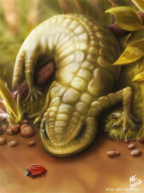 Digitale Malerei einer Echse die einen Käfer auflauert