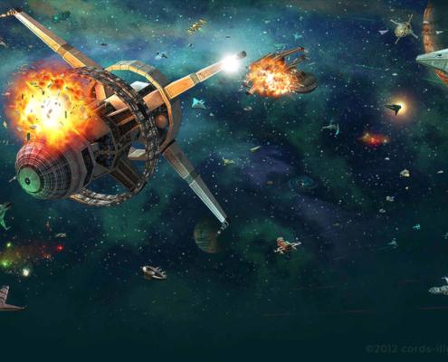 Weltraumschlacht Hintergrundgrafik für ein Browserspiel