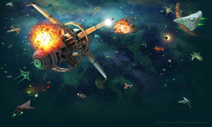 Eine Szene einer Weltraumschlacht als Hintergrundgrafik für ein Browserspiel.
