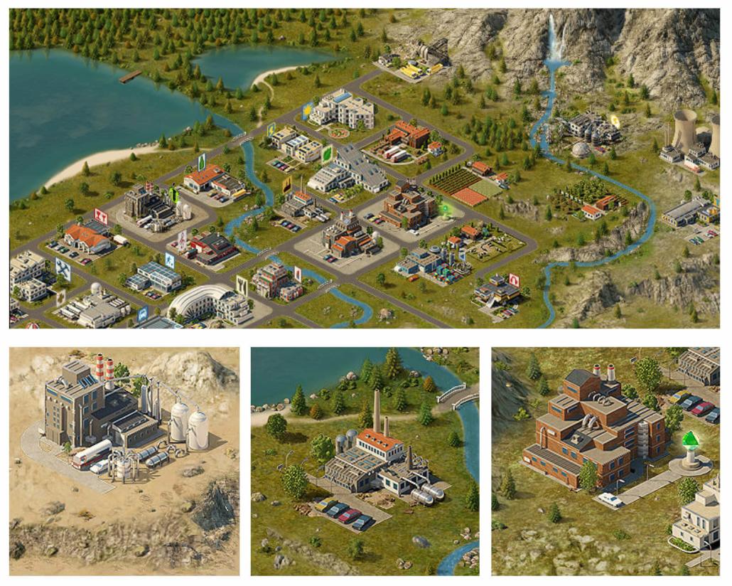 Landschaft- und Gebäudegrafiken für ein Browserspiel