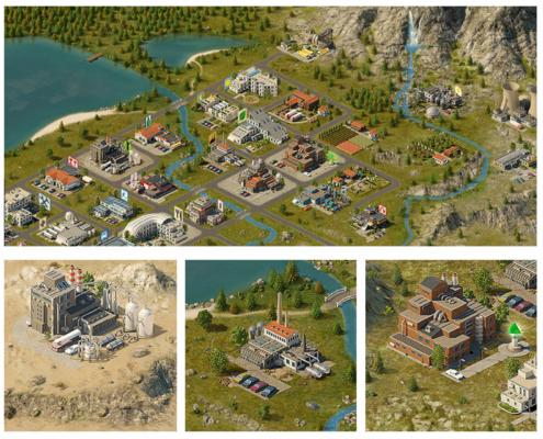 Landschaft+Gebäude-Browserspiel
