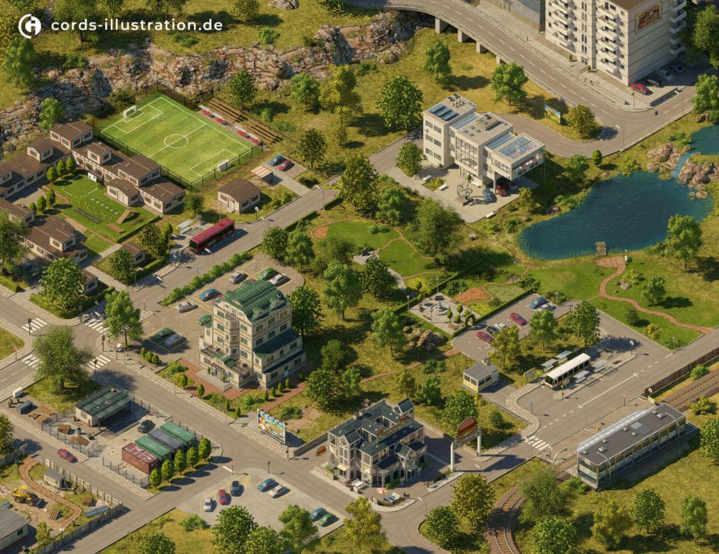 Gestaltung der Landschaft und Gebäude für ein Browserspiel.