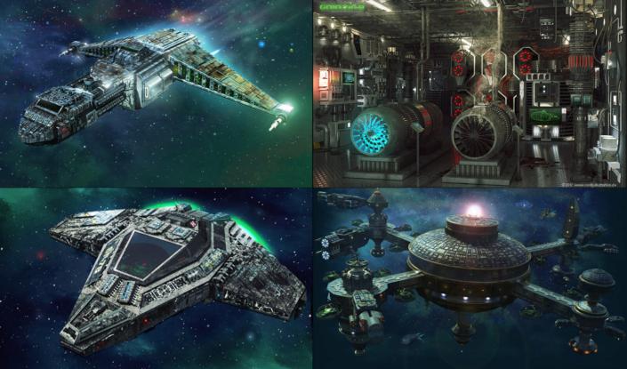 Referenzen aus verschiedenen SciFi-Spielen für die ich als Freelancer gearbeitet habe.