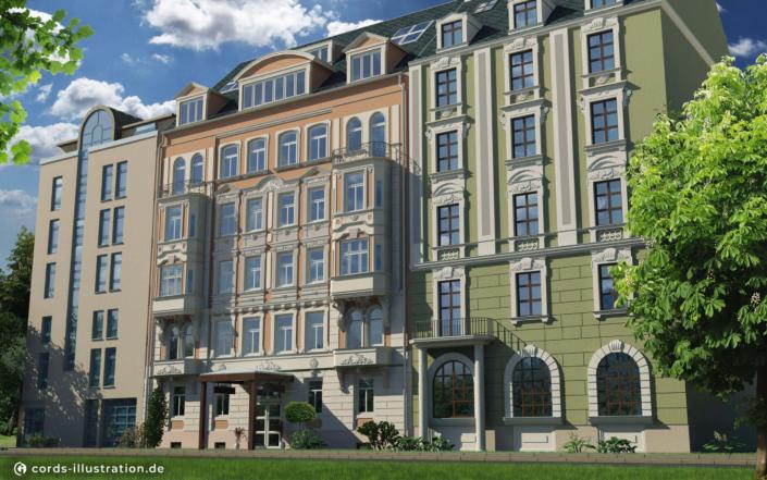 Das Bild zeigt eine 3D Visualisierung einer Gebäude Fassade