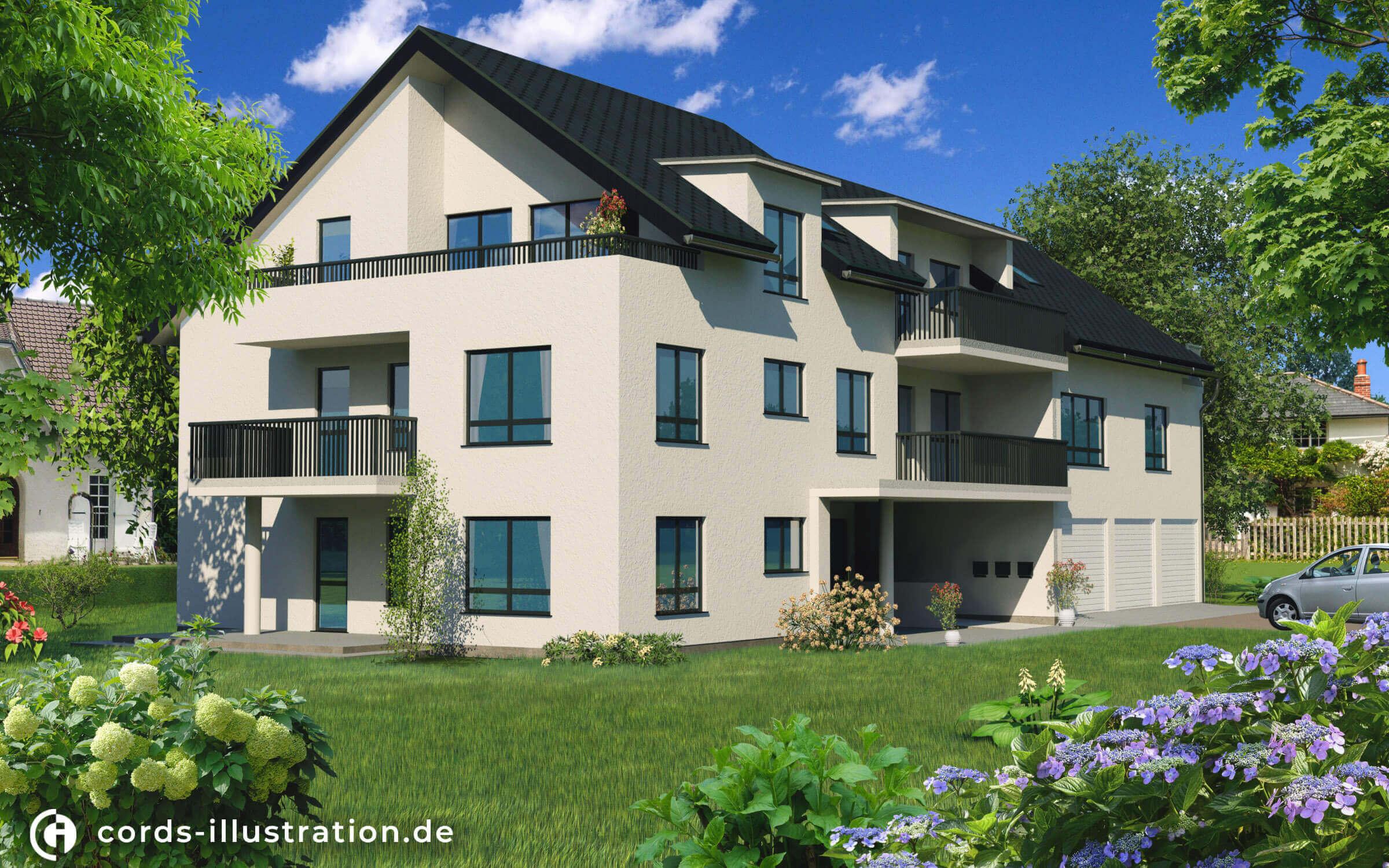 Eine Visualisierung eines Mehrfamilienhauses mit Gartenbereich