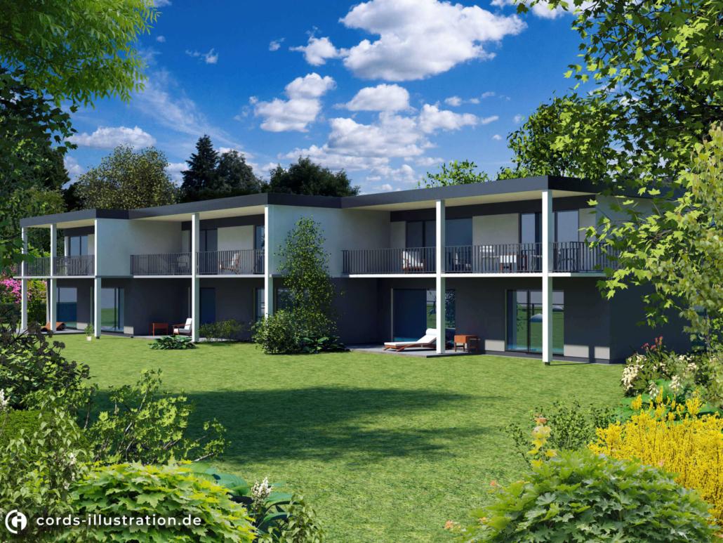 Das Bild zeigt eine Visualisierung eines Mehrfamilienhauses mit Gartenanlage