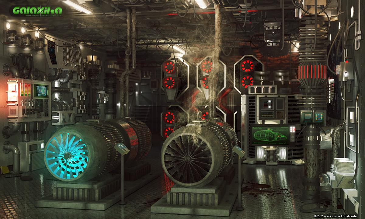 Raumschiff-Maschinenraum