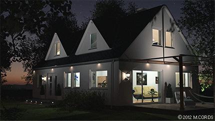 Gebäudevisualisierung bei Nacht