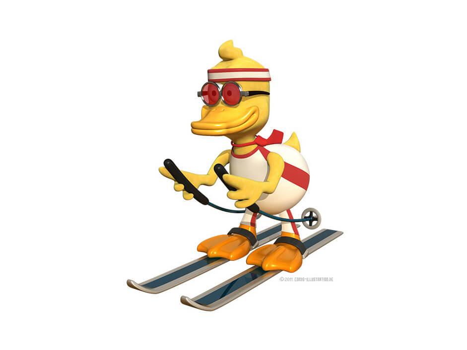 Eine Ente auf Ski als Maskottchen für einen Fotografen.