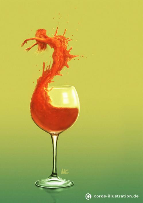 Digitale Malerei eines Weinglases. Aus der Flüssigkeit entsteht die Silhouette einer Frau.